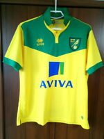 Norwich City England 2014/2015 Home Football Shirt Jersey Errea size M