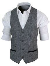 Mens Grey Black Tan Brown Herringbone Tweed Slim Fit Waistcoat Smart Casual 44 Grey