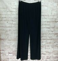 Chicos Travelers Size 2 Black Wide Leg Pull On Liquid Knit Slinky Pants Large