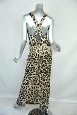 GERARD DAREL Womens Cotton Silk Leopard Animal Print Maxi Long Dress 4/36 NEW