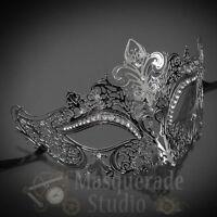 Womens Luxury Filigree Metal Laser-Cut Mardi Gras Prom Masquerade Mask [Silver]