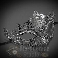 Womens Luxury Filigree Metal Laser-Cut Venetian Masquerade Prom Mask [Silver]