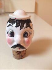 Vintage porcelain cork bottle stopper ceramic man with mustache hat