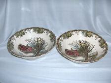 "2 Vintage Johnson Bros China Friendly Village Round 8"" Serving Bowls Autumn Mist"