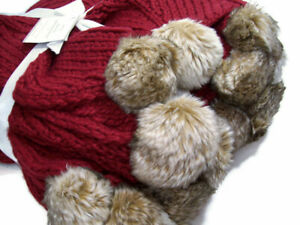"""Pottery Barn Burgundy Red Faux Fur Pom Pom Throw Blanket 50"""" X 60"""" New"""