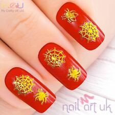 Gold Halloween Spider Cobweb Nail Stickers, Adhesive Decals 01.02.111