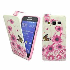 Case For Samsung Galaxy Core Prime White Pink Swirl Flower Butterfly Flip Cover