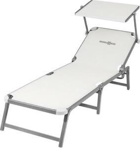White Syntex / aluminium Marbella Folding sunbed sun lounger reclining chairs