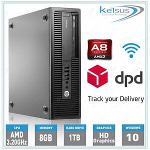 HP Windows 10 PC 705 G2 SFF Desktop Quad Core AMD A8 3.20GHz 8GB RAM 1TB HDD