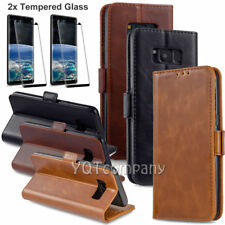 For Samsung Galaxy S8 S9 S10 S7 Leather Case Flip Wallet Cover Screen Protector