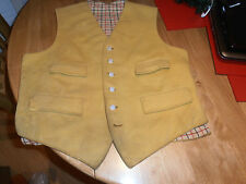 Vtg Mustard Hunting Waistcoat with Tattersall Check Lining Size 38""