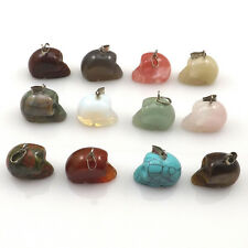 24pcs/lot Carved Skull Shape Natural Stone Pendants Semi-precious Stone Charm