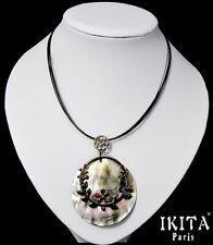 Luxus Statement Kette Halskette IKITA Paris Natur Perlmutt Anhänger Strass Kabel