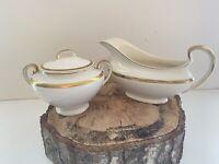 Vintage Pareek Johnson Bros England Porcelain Gravy Bowl & Sugar Bowl w Lid Dish