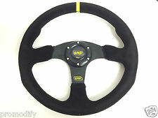 350mm Suede Leather Flat Style Steering Wheel OMP MOMO SPARCO Drifting Racing
