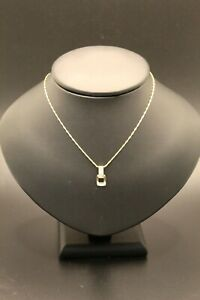 9ct Yellow Gold CZ Pendant With Fancy 1.2mm Barleycorn Necklace Chain 18inch