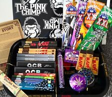 More details for raw stoner gift set, raw rolling tray/purple grinder/blunts/obc rolling papers