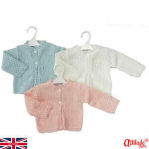Baby Cardigans-Knitted Baby Cardigan-Pink-White-Sky Blue-Newborn Up To 9 Months