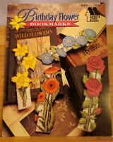 JE031 ANNIE'S ATTIC 1992, BIRTHDAY FLOWER BOOKMARKS - 12 PLASTIC CANVAS DESIGNS