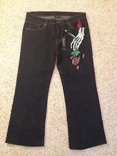 "Christian Audigier Women's Embroidered Black Denim Jeans Cut #2962 36"" x 33"""