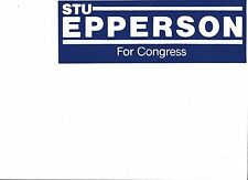 Bumper sticker white on blue Stuart Epperson (GOP), ran for Congress in NC 1984