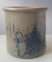 Vint. Salmon Falls Pottery Stoneware 1933 Salt Glazed Crock Xmas Tree & Bear