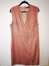 Missguided Women's Faux Suede Nude Sleeveless Dress Sz.24