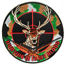 Embroidered Deer Hunter Hunting Iron on Sew on Biker Patch Badge