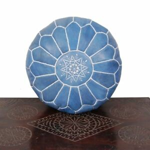 2 Ottoman Footstool Leather Round  Poof Pouffe pouffes pouve Hassock Moroccan