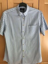 Mens Charles Tyrwhitt Summer Short Sleeve Blue Check Shirt Size L New Condition