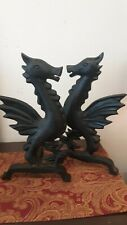 Antique Vintage Fireplace Andirons Art Deco Dragons Iron Fire Log Holders