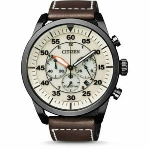 CITIZEN CA4215-04W Aviator Eco-Drive Chronograph Brown Leather Quartz Men Watch