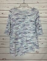 J.Jill Pure Women's Sz Small White Blue 3/4 Sleeves Knit Soft Summer Tunic Top