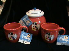 Disney Hallmark Mickey & Minnie Mouse Treat Jar w/ 2 Matching Mugs All Nwt