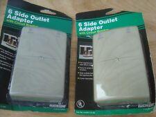 lot of 2 Side Entry 6 Way Electrical Socket Outlet Wall Adapter w/Breaker UL