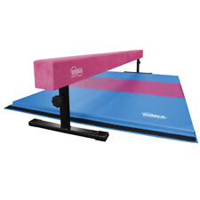 Pink Suede Adjustable Height Balance Beam and Pink and Light Blue Gymnastics Mat
