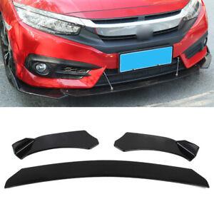 Universal Car Glossy Black Front Bumper Lip Chin Spoiler Splitter Body Kit 3pcs