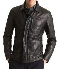 Vintage Men real Leather Jacket Genuine Lambskin Black Slim Fit UC590