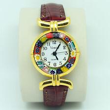 Murano Glass Quartz Watch from Venice with Millefiori and Dark Red Brown Strap
