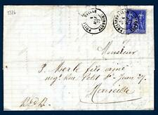 FRANCE - FRANCIA - 1877 - BUSTA - Da PHILIPPEVILLE (Algeria) a MARSILIA (Francia