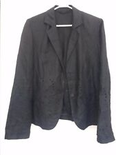 """Black linen ladies jacket with floral embroidery cutout detail size 38/40"""" bust"""