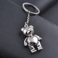 Creative 3D Bear Collectable KeyRings Silver Metal Bag Pendants Keychain Gift