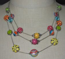Fun Flirty Multi-Colored Enamel Flower Floral Silver Tone Multi-Strand Choker