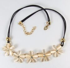 Women's Cream Crystal Flower Choker Bib Necklace Jewellery
