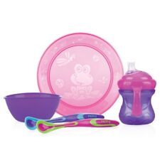 Nuby Tischware Set Mahlzeit Zeit Teller Schüssel Tasse 2 x Löffel in rosa/lila
