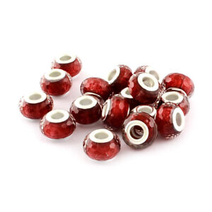 100pc Acrylic Faceted European Beads Large Hole Silver Core Rondelle Charms 14mm