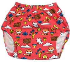 Adult size Forest baby animals, red diaper cover