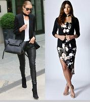 Womens Ladies  3/4 Turn Up Sleeve Open Front Collared Coat Black Blazer Jacket