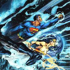 "JIM LEE Trinity ART PRINT Cover BATMAN Wonder Woman SUPERMAN Signed 11 x 5.75"""