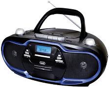 TREVI Stereo Portatile Boombox Cd Cassette Am Fm MP3 USB NERO BLU CONSEGNA GRATUITA